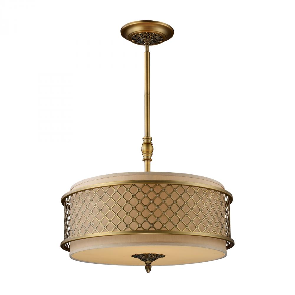ELK Lighting: Four Light Brass Drum Shade Pendant