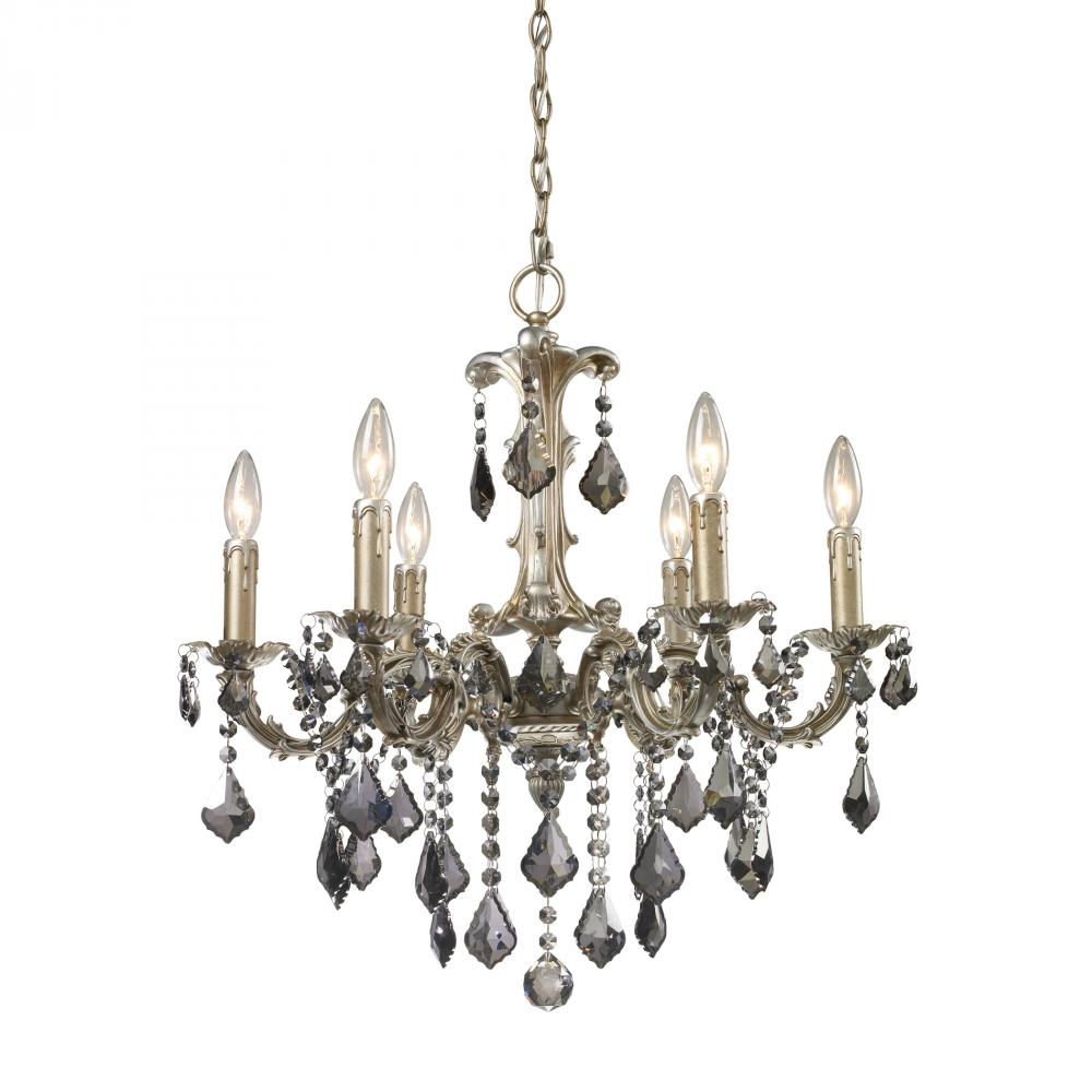 This Six Light Up Chandelier has a Silver Finish and is part of the Marseille Collection.